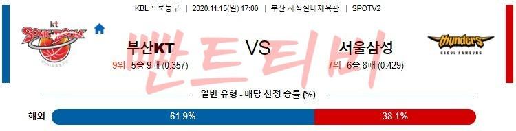 11월 15일 KBL - 부산KT vs 서울삼성 프로농구분석 경기분석 무료중계